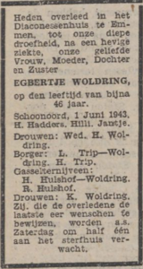 Egbertje Woldring, 1-6-1943, overlijdensadvertentie