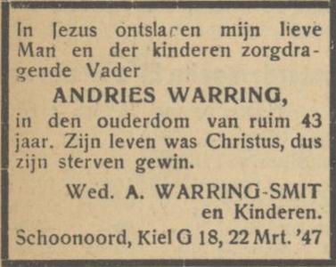 Andries Warring, 22-3-1947, overlijdensadvertentie