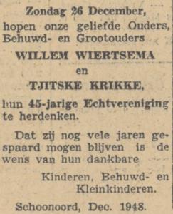 Wiertsema en Krikke, 26-12-1948, 45 jarig huwelijk