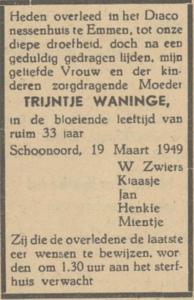 Trijntje Waninge, 19-3-1949, overlijdensadvertentie