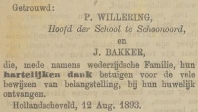 Pieter Willering en Jentje Bakker, 12-8-1893 huwelijksadvertentie