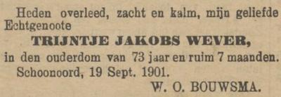 Trijntje Jakobs Wever , 19-9-1901, overlijdensadvertentie