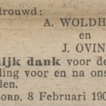Woldhuis en Oving, 8-2-1907, huwelijksadvertentie