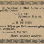 de Wit en de Jong, 4-5-1906 25 jarig huwelijk