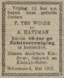 Pieter ten Wolde en Aaltje Haveman, 12-5-1922, 40 jarig huwelijk