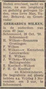 Gerhardus Wilken, 29-10-1950, overlijdensadvertentie