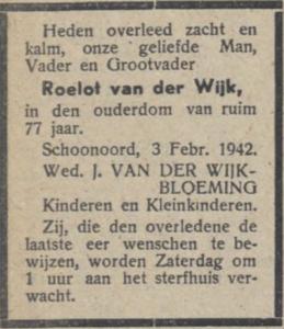Roelf van der Wijk, 3-2-1942, overlijdensadvertentie
