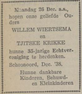 Wiertsema en Krikke, 26-12-1938, 35 jarig huwelijk