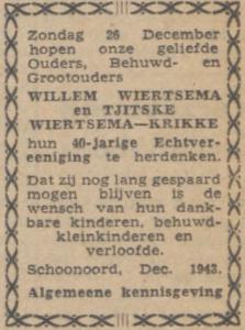 Wiertsema en Krikke, 26-12-1943, 40 jarig huwelijk
