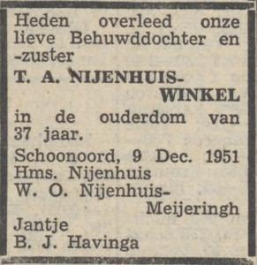 Trijntje Anna Winkel, 9-12-1951, overlijdensadvertentie