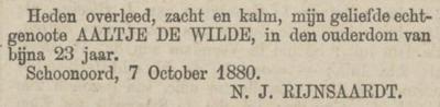 Aaltje de Wilde, 7-10-1880 overlijdensadvertentie