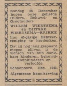 Wiertsema-Krikke, december 1943 40 jaar getrouwd