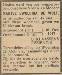 Martje Ewoldina de Wolf, 18-10-1947, overlijdensadvertentie