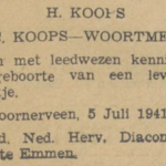 Koops, 5-7-1941, overlijdensadvertentie