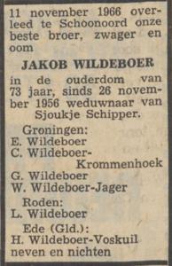 Jakob Wildeboer, 11-11-1966, overlijdensadvertentie