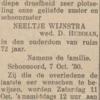 Neeltje Wijnstra, 7-10-1930, overlijdensadvertentie