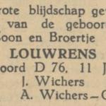 Louwrens Wigchers, 11-6-1949, geboorteadvertentie