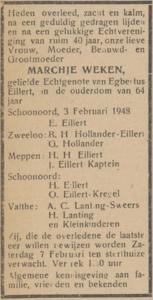 Marchje Weken, 3-2-1948, overlijdensadvertentie