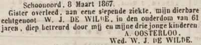 Willem Jans de Wilde, 8-3-1867, overlijdensadvertentie