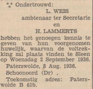 Weis en Lammerts, 8-8-1936, ondertrouwd