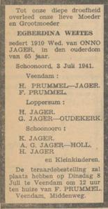 Egberdina Weites, 3-7-1941, overlijdensadvertentie