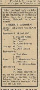 overlijdensadvertentie Trientje Weggen