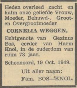Cornelia Weggen, 19-10-1949, overlijdensadvertentie