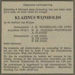 Klazinus Wijnholds, 6-2-1971, overlijdensadvertentie
