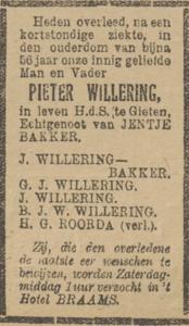 Pieter Willering, 30-12-1919, overlijdensadvertentie