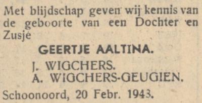 Geertje Aaltina Wigchers, 20-2-1948, geboorteadvertentie