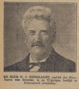 Nicolaas Johannes Rijnsaardt (1853-1925), krantenknipsel 1925.