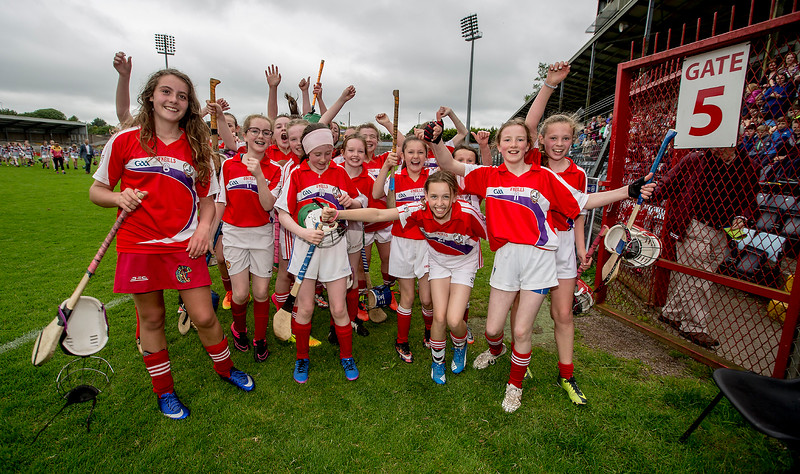 EEXXjob SPORT 30/05/2017 Sciath na Scol Finals played at Pairc Ui Rinn.  Cloghroe v  GS Ui Riordain.    GS Ui Riodrdain celebrate victory over Cloghroe . Picture: Andy Jay