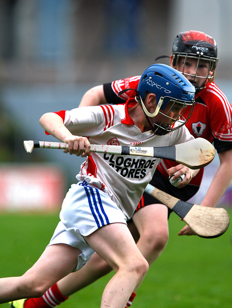 EEXXjob SPORT 30/05/2017 Sciath na Scol Finals played at Pairc Ui Rinn.  St. Anthony's v Cloghroe .  Cloghroe's  Adam Doyle in action against Michael Whelan St. Anthony's.  Picture: Andy Jay