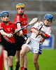 EEXXjob SPORT 30/05/2017 Sciath na Scol Finals played at Pairc Ui Rinn.  St. Anthony's v Cloghroe .   Cloghroe Captain David Keane clears under pressure from St. Anthony's Luke O'Herlihy and John O'Sullivan.  Picture: Andy Jay
