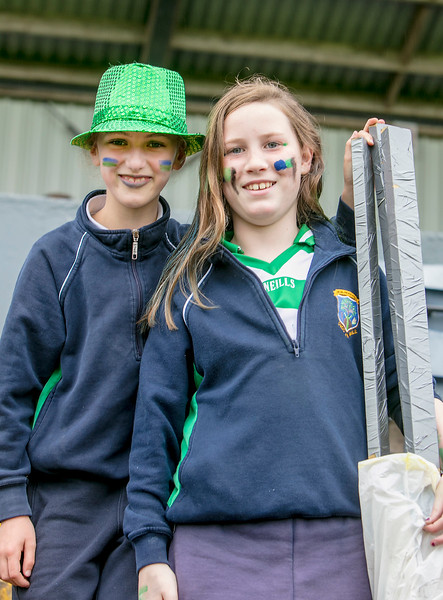 EEXXjob SPORT 31/05/2017 SPORT  Allianz Sciath na Scol Finals played at Pairc Ui Rinn.  Knockavilla fans l-r  Caoimhe Ryan and Neasa Kiely pictured at the Allianz Sciath na Scol Finals on Wednesday.    Picture: Andy Jay