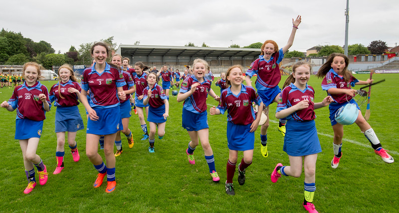 EEXXjob SPORT 30/05/2017 Sciath na Scol Finals played at Pairc Ui Rinn.  Berrings v Castlelyons .  Berrings celebrate as they leave the pitch after victory over Castlelyons.  Picture: Andy Jay