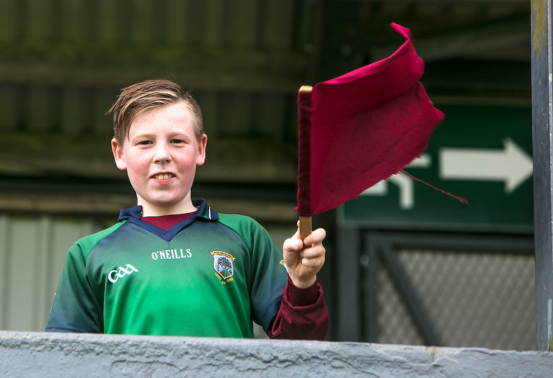 EEXXjob SPORT 31/05/2017 SPORT  Allianz Sciath na Scol Finals played at Pairc Ui Rinn.  A Knockavilla fan  ready with flag  at the Allianz Sciath na Scol Finals on Wednesday.    Picture: Andy Jay