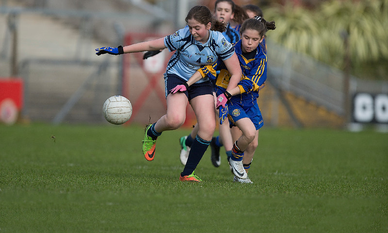 EEjob 13/11/2017 SPORT Allianz Sciath na Scol Finals at Páirc Uí Rinn.  Rathduff v Barryroe   Barryroe's Alison McCarthy battles it out with Rathduff's Megan O'Shea.  Picture:Andy Jay