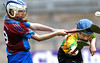 EEXXjob SPORT 30/05/2017 Sciath na Scol Finals played at Pairc Ui Rinn. C5 Berrings v Castlelyons .  Duck ! Castlelyons Alison Dooley lives dangerously as Leah Murphy clears for Berrings. Picture: Andy Jay