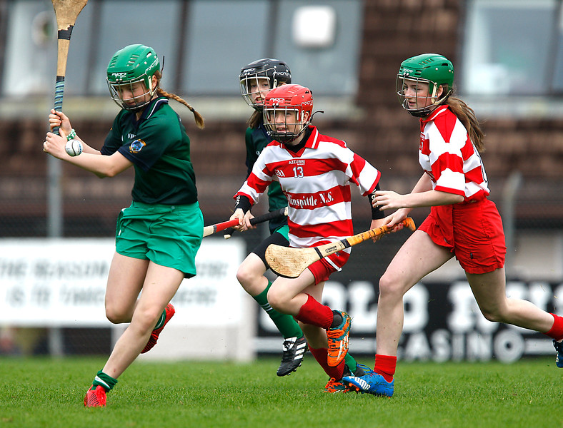 EEXXjob SPORT 31/05/2017Allianz Sciath na Scol Finals played at Pairc Ui Rinn. DC4 Knockavilla v Ballinspittle . Sinead  Hickey  Ballinspittle moves in to attempt a block as Knockavilla clear. Picture: Andy jay