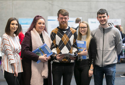 09/03/2019. Pictured at the Waterford Institute of Technology Science Careers Day.  Pictured are Lineea Popa Wexford Town, Evan Dempsey Kilmuckridge, Gillian White Foulksmills, Eire Brennan Wexford town and Lee Butler Wexford Town. Picture: Patrick Browne