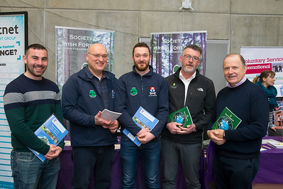 09/03/2019. Pictured at the Waterford Institute of Technology Science Careers Day.  Pictured are John Holden Glenmore, Michael Pedini Castlecomer, Conor Dowling Kilmacow, John Roche Arbor Forest Management, Pacelli Breathnach Society for Irish Forestry. Picture: Patrick Browne