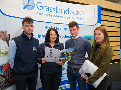 09/03/2019. Pictured at the Waterford Institute of Technology Science Careers Day.  Pictured are Niall Kelly Killenaule, James O'Halliran Mullinahone, Michelle O'Brien from Cahir with Lorraine Rossitter of Grassland . Picture: Patrick Browne