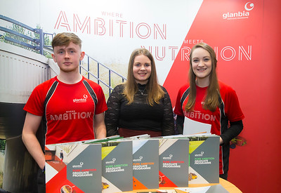 09/03/2019. Pictured at the Waterford Institute of Technology Science Careers Day. Pictured are Susan Queally, Grad prog officer, Edward Colgan Agri Business Associate and Michelle Ward who joined the graduate programme last Sept. Picture: Patrick Browne