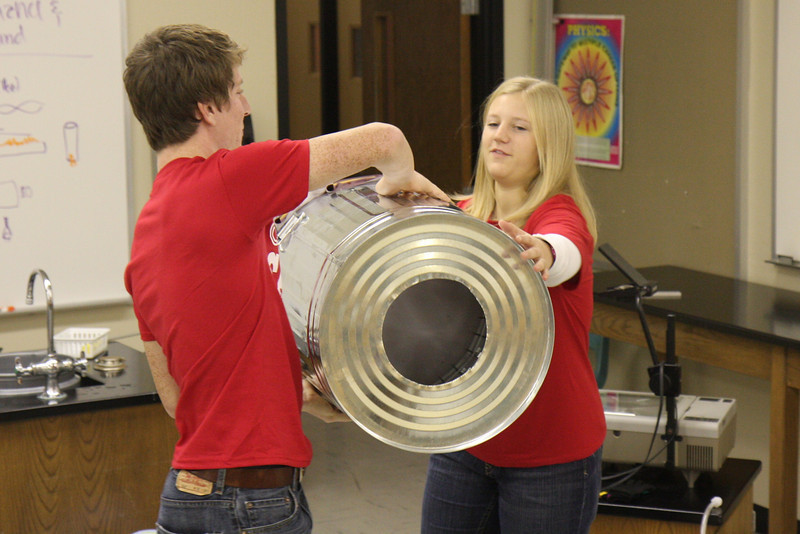 Kendra and Zach playing with the air cannon.