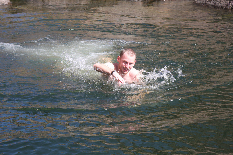The water was freezing.  Michael makes a quick escape.