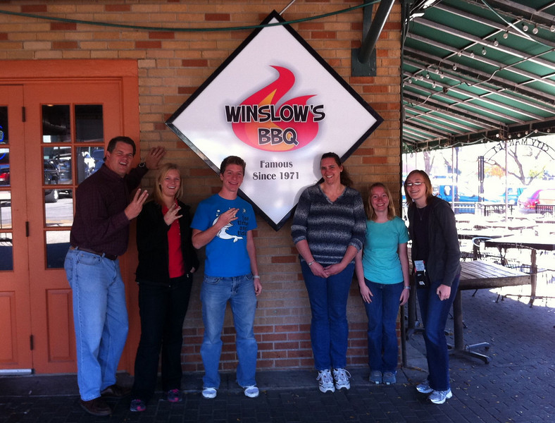 Lunch at Winslow's BBQ.   W is for Winslow!