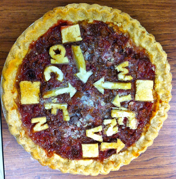 Erin made a great pie for class just before Thanksgiving.  As a student in Dr. Winslow's physics class, you can see great stuff like normal force, centripetal acceleration (towards the center!), etc.
