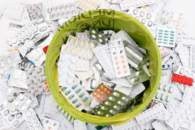 Pharmaceutical waste is collected by pharmacies and others.