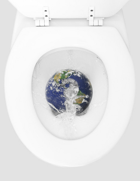 Flushing loo with globe